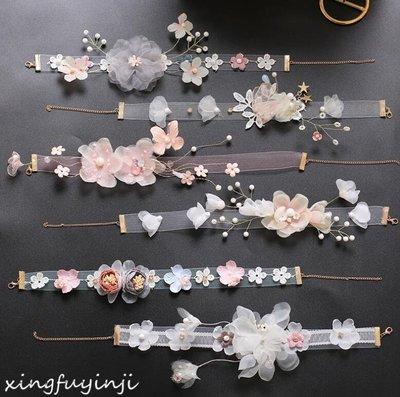 頸鏈 新娘頭飾森系仙美韓式花朵短項鏈發帶婚紗禮服頸鏈發結婚飾品—莎芭