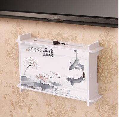 創意電視機頂盒架壁掛架子插座遮擋收納盒置物架框門開關【魚戲荷塘小號】