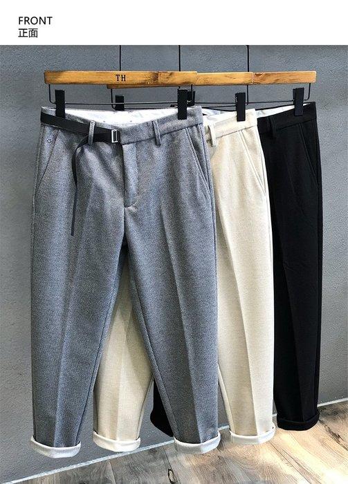 ☆MR.STORE.A☆日單簡約微寬鬆收小腿毛呢 小西褲 休閒褲(3色)~預購+現貨