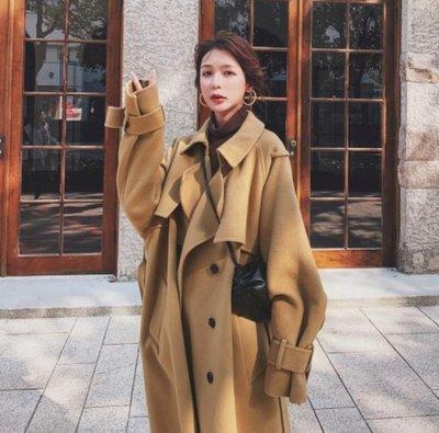 [正韓] - 英倫氣質款 東大門毛呢大衣外套 韓國外套 韓國毛呢大衣