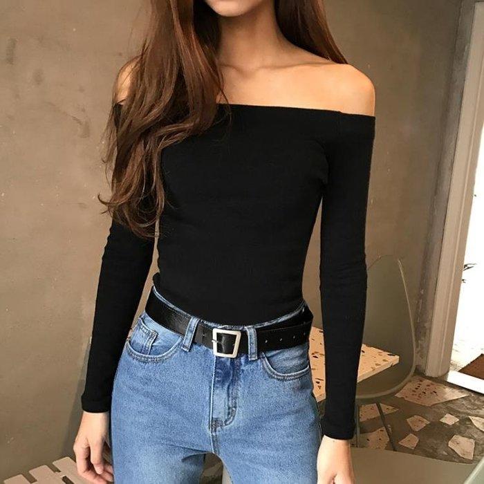 黑色一字肩露肩上衣長袖T恤女春秋 2019新款修身一字領漏肩打底衫