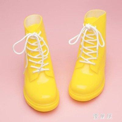 哆啦本鋪 兒童女雨鞋防滑雨靴馬丁靴女英倫風韓版圓頭高幫小學生短靴 6093 D655