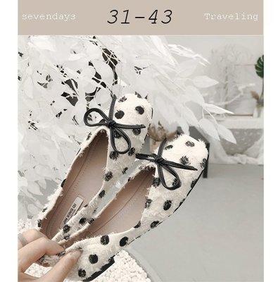 大尺碼女鞋小尺碼女鞋方頭V口復古刷破點點平底鞋娃娃鞋白色(31-43)現貨#七日旅行