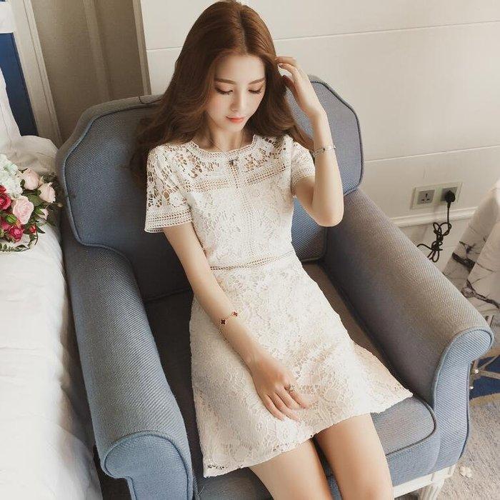 蕾絲洋裝 韓版蕾絲镂空高腰短袖連身裙 女矮個子顯高套頭a字裙—莎芭