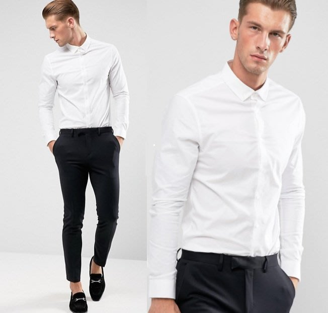 ◎美國代買◎ASOS紐扣襯衫領素面經典百搭白色合身長袖襯衫上衣~歐美街風~大尺碼