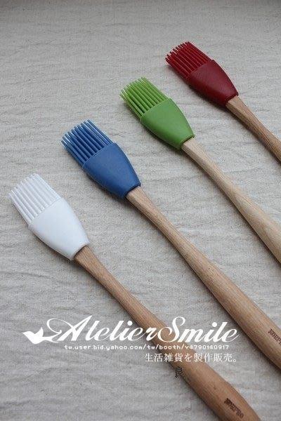 [ Atelier Smile ] 鄉村雜貨 歐洲進口櫸木 烘焙廚房專用 矽膠糕點刷 燒烤刷 中款 (現+預)