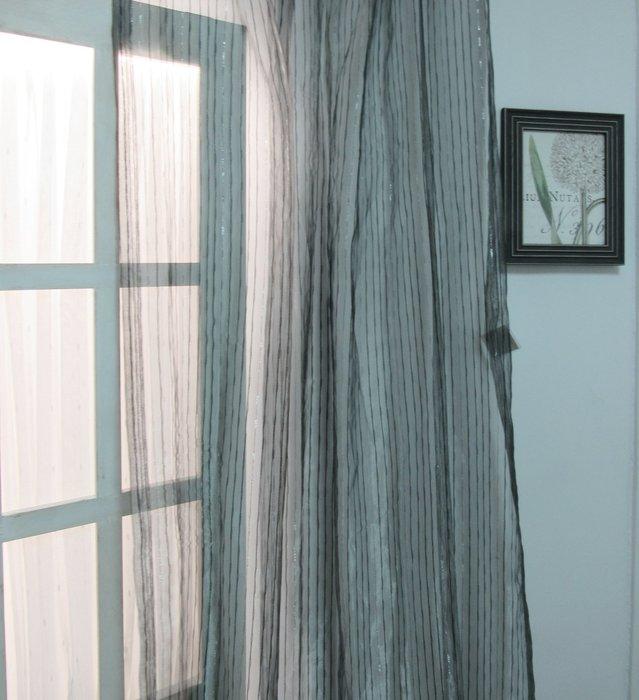 [W083]窗簾 窗紗  No.481黑銀直條灰紗  特價出清  無接縫紗 時尚 簡約