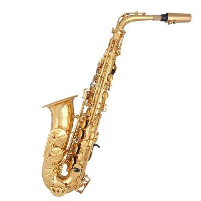 【民族乐器】降E調樂器薩克斯 黃銅中音薩克斯 全管身漆金初學演奏薩克斯 H4730D