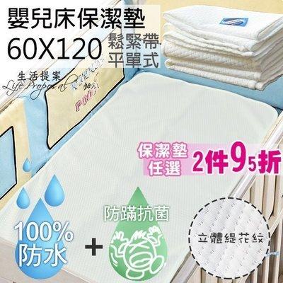 保潔墊2件95折【生活提案】嬰兒床專用防水透氣保潔墊(60x120)專利抗菌+防蹣/緹花平單式隔尿墊/台灣製/桃園可自取