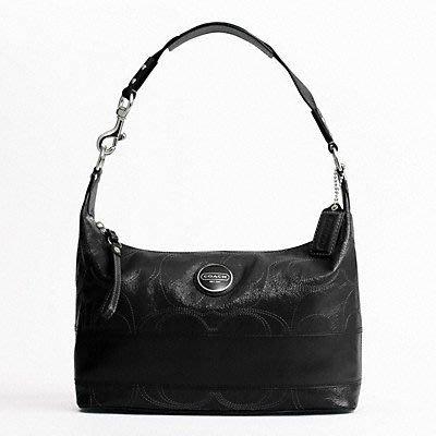 COACH ** 17421 ** Patent Leather Signature 黑色肩背包 (有現貨)