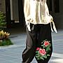 【冰紋藝術‧植物手染】精緻繡花民族特色長褲《年終清倉出清特惠》最後1