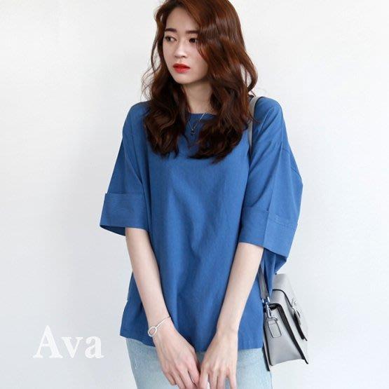 Ava正韓 五分袖側邊下擺開叉設計顯瘦上衣 4色 [預購]I623732-0404-live0612