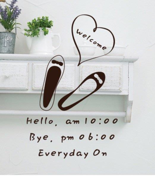 小妮子的家@鞋店營業時間壁貼/牆貼/玻璃貼/磁磚貼/汽車貼/家具貼