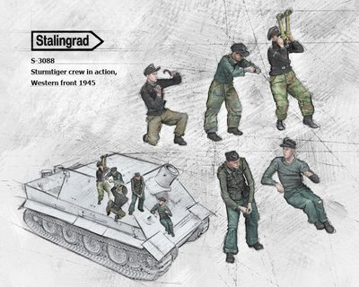 """(ST)S-3088 1/35""""Sturmtiger crew in action,Western front 1945"""" Resin Figures"""