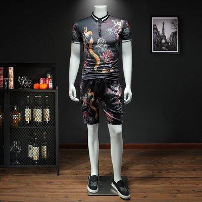 東家style 夏季POLO短袖套裝男正韓修身個性潮流印花運動套裝夏裝倆件套套裝