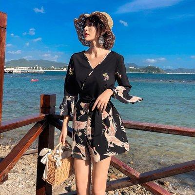 【Strawberry】泰國巴厘島海邊度假沙灘短褲V領仙鶴連體褲喇叭袖雪紡闊腿褲裙褲