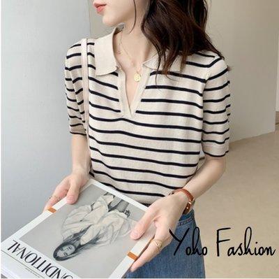YOHO 短袖上衣 (HH06963) 實拍百搭薄款寬鬆條紋針織衫 有2色 預購