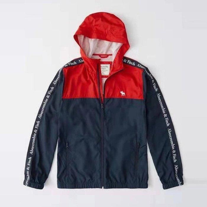 【Abercrombie&Fitch】【A&F】AF男款風衣外套輕薄款雙臂繡字拼紅藍 F04190812-02