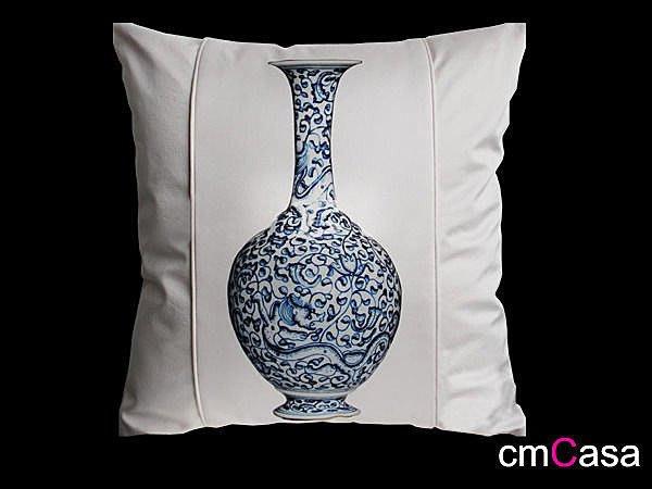 = cmCasa = [1548]東方上海古典美學 PU皮革青花瓷抱枕套 人文首璽文化發行