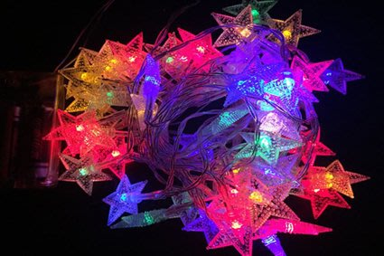 【洋洋小品LED星星30燈電池式燈串/露營燈具】桃園平鎮中壢聖誕節-LED燈泡LED燈條LED燈串