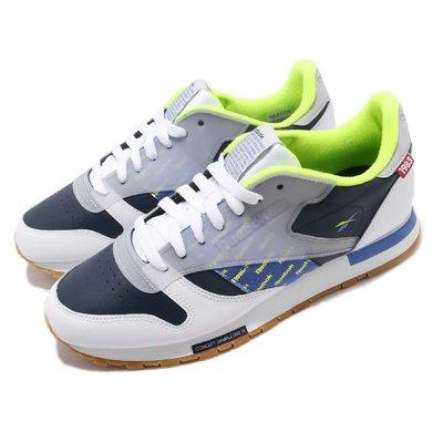 =CodE= REEBOK CLASSIC CL LEATHER ATI 3M反光復古皮革休閒鞋(白藍)DV5241 男