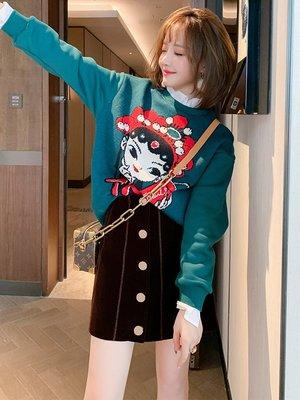 TANG KOREA 韓裝時尚卡通人物拼接襯衫木耳花邊寬松針織毛衣