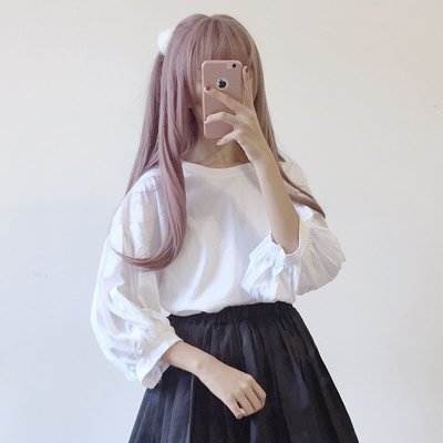 小香風 短袖T恤 時尚穿搭 韓版 純色泡泡袖七分袖寬松T恤百搭學生長袖上衣打底衫 顯瘦 女