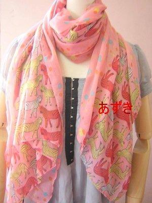 紅豆商行-早秋甜美浪漫.百搭單品單層大圍巾/兩用披肩-糖果斑馬-粉
