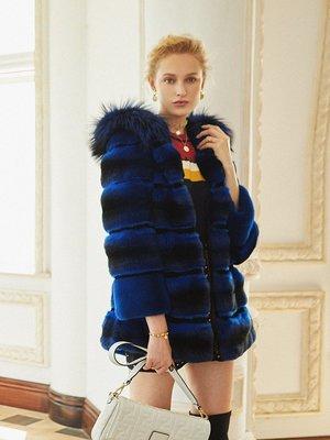 'OVERCOAT'美洲進口青紫藍中長款皮草外套 冬季連帽皮草保暖裘皮