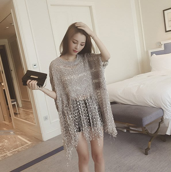 ❤Shinena 千奈公主❤ 韓國空運 ✈波西米亞風鏤空流蘇罩衫 針織衫