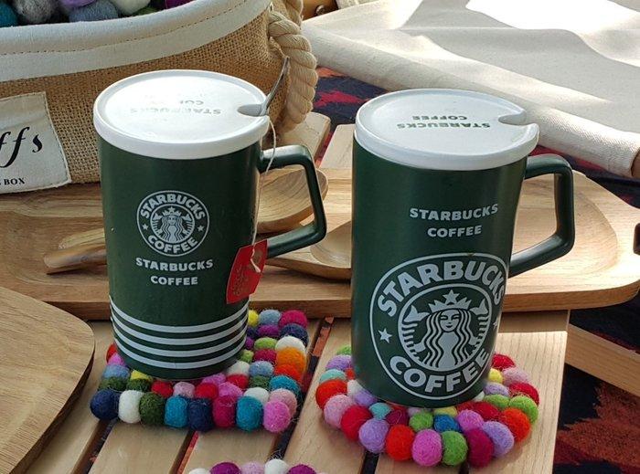 Sugar Korea100%美國星/克經典LOGO美人魚圖條紋陶瓷馬克杯咖啡杯茶杯 附杯蓋茶匙 現貨