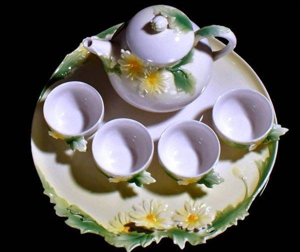 5Cgo【鴿樓】會員有優惠 琺琅瓷 9052913111 菊花饗宴 茶具六件組 (茶盤*1 茶壺*1 杯*4 )