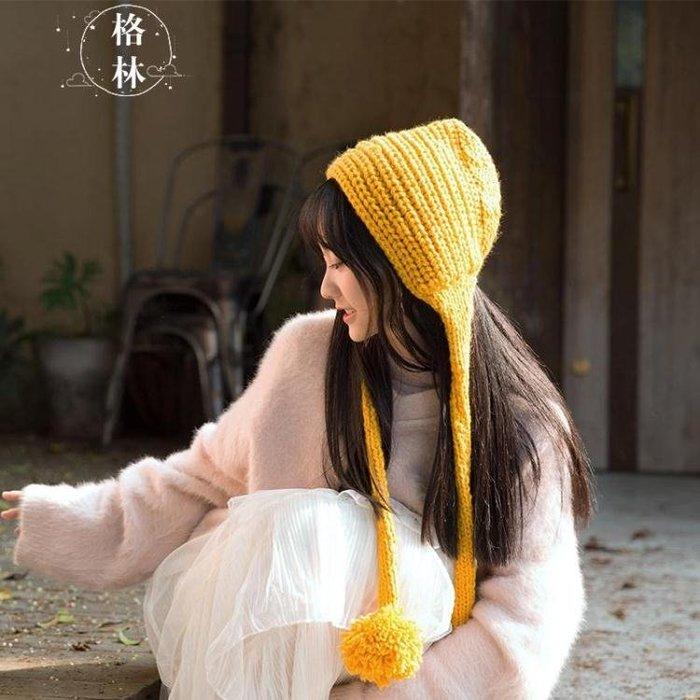 毛線帽女冬季護耳可愛針織帽加厚毛線帽大碼手工針織帽潮