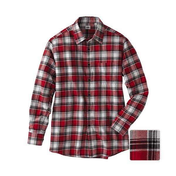 【日貨代購CITY】UNIQLO 男裝 襯衫 法蘭絨 格紋 經典 百搭 秋冬新款 0704242 紅色 XL 現貨
