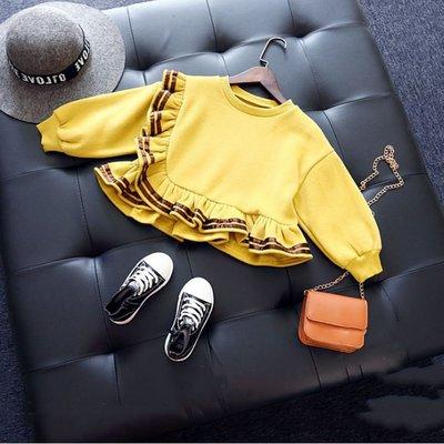 【溜。溜。選物】早秋新款*長袖棉鋪絨保暖上衣 木耳滾邊T恤 長袖套頭上衣