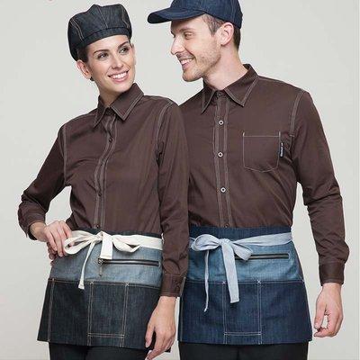 【制服工廠店】Checked Out韓版短牛仔圍裙服務員圍裙西餐廳酒店咖啡廳廚房工作牛仔半身圍裙