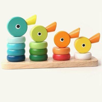 【晴晴百寶盒】木製彩虹小鸭疊疊樂 寶寶过家家玩具 角色扮演 積木 秩序智力提升 練習 禮物 平價促銷 P082