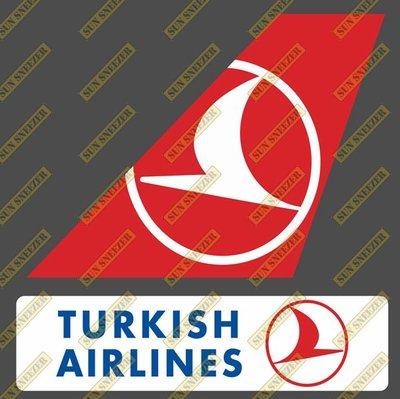 土耳其航空 Turkish 垂直尾翼與機身商標 貼紙  尺寸上63x86mm 下 23x90mm