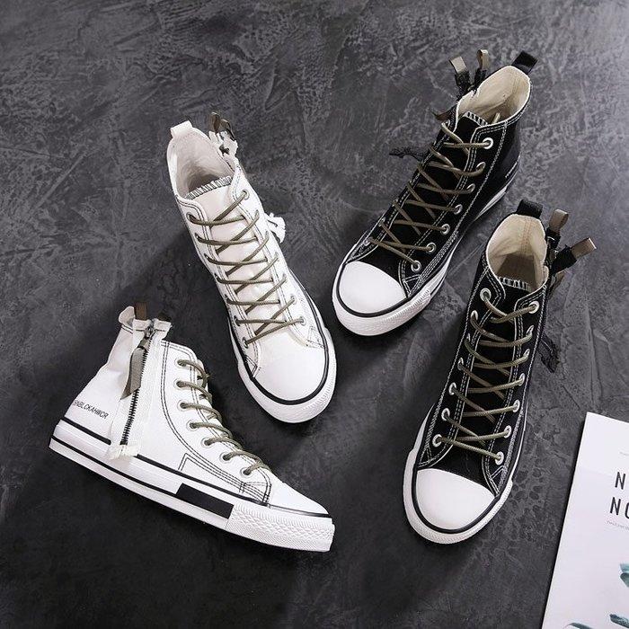帆布鞋港風夏季新款風高筒帆布鞋復古拉鏈帆布鞋潮流工裝男鞋子