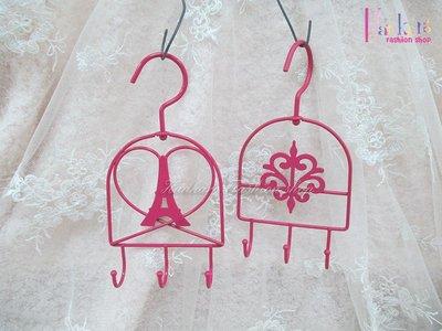 ☆[Hankaro]☆創意鐵藝粉色圖案掛勾兩件組(樣品出清)