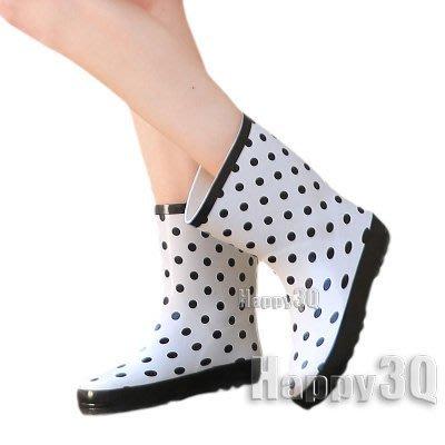 普普風圓點厚底橡膠防滑中筒雨靴-白35-40【AAA0017】