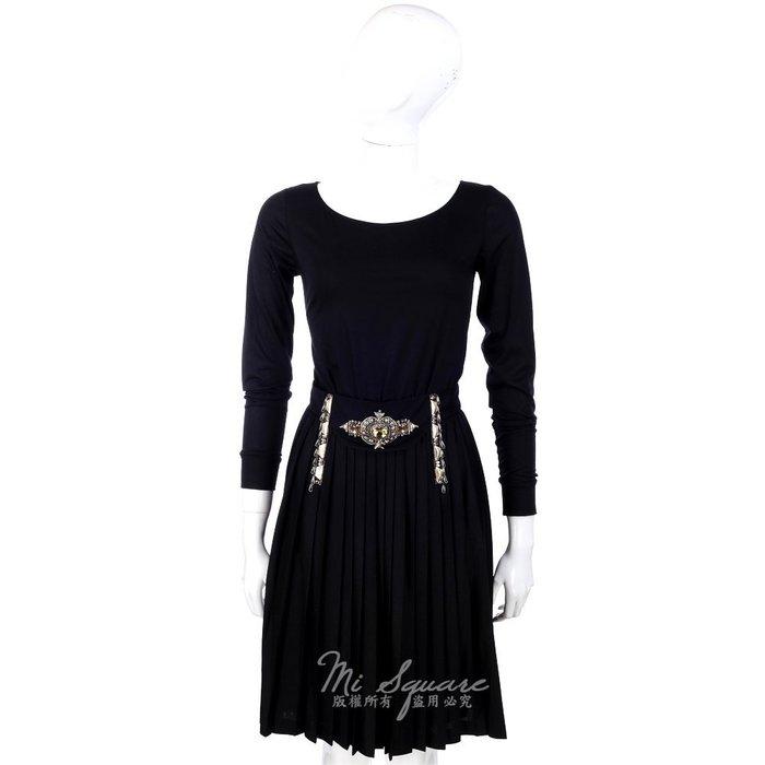 米蘭廣場 CLASS roberto cavalli 黑色寶石鑽飾抓褶長袖洋裝 1340031-01