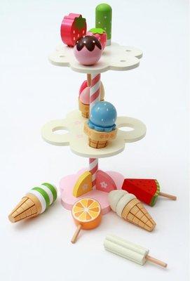【晴晴百寶盒】木製冰淇淋下午茶時光 寶寶过家家玩具 角色扮演 積木 秩序智力提升 練習 禮物 平價促銷 P079