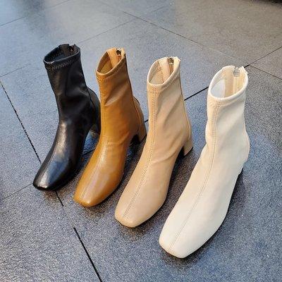 小跑牛鞋小池在首爾2021冬季新款方頭中跟薄絨短靴后拉鍊瘦瘦靴法式女靴潮