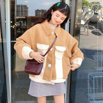 外套女小清新季2108新款韓版寬松顯瘦拼色羊羔毛加厚保暖小棉衣