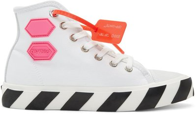 ~克莉絲丁時尚衣櫥~Off-White Vulcanized 貼布徽章麂皮帆布拼接高筒帆布鞋