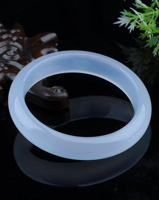 【福寶堂】純天然正品白瑪瑙玉髓手鐲女款 水晶貴妃玉鐲子細款
