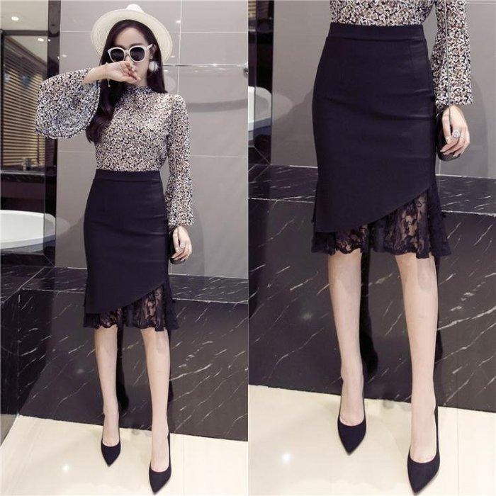 女包臀裙蕾絲半身裙職業中長款黑色大碼高腰顯瘦不規則開叉裙夏季
