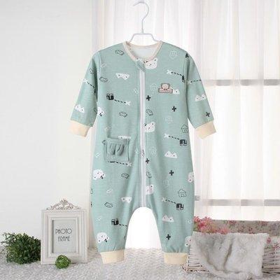 兒童純棉睡袋夏季保暖分腿防踢被空調房兒童春秋薄款寶寶連體睡衣