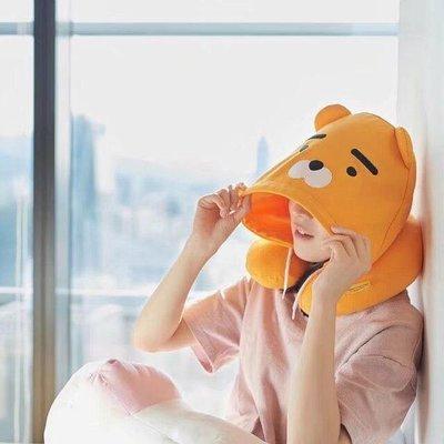 現貨?萊恩?連帽U型枕 秋冬細絨版 韓國國民卡通kakaofriends 萊恩屁桃連帽午安枕飛機枕護頸枕bts